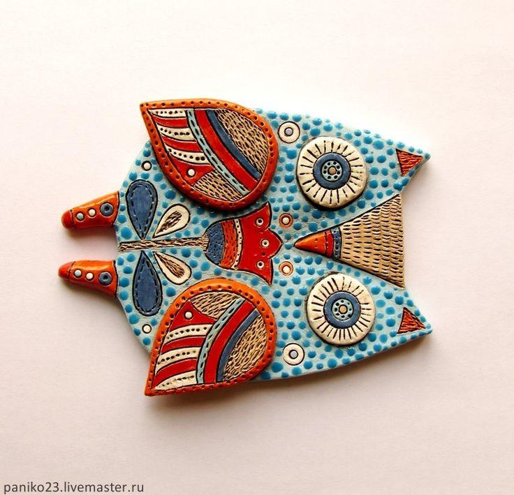 Купить Интерьерная Сова - морская волна, сова в подарок, керамика ручной работы, Керамика, сова