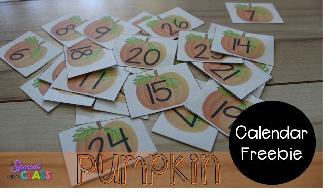 Free pumpkin calendar numbers for October.  Use in your math centers or work stations by putting them in the right order or make two copies and play a matching game.
