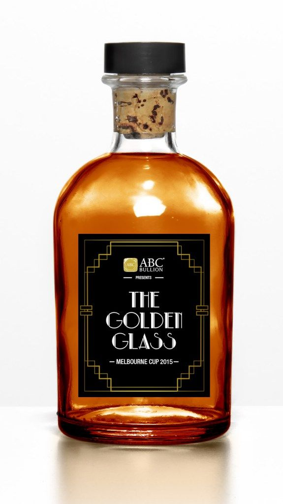 The Golden Glass custom bottled cocktail label created for ABC Bullion and This Must Be The Place by Emma Wrigh