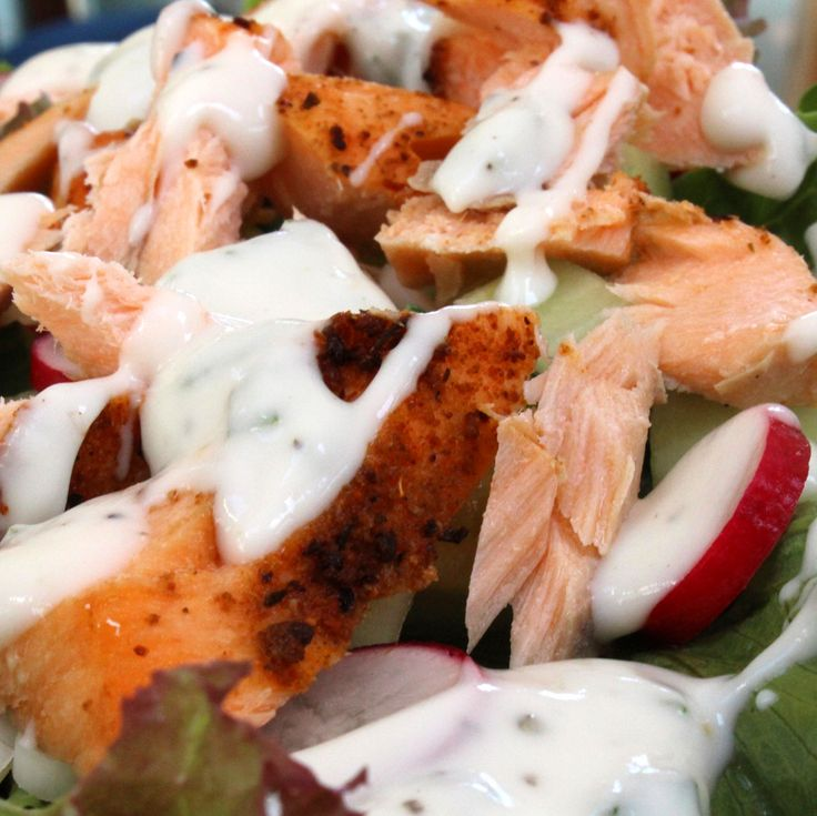 299 calories Tender baked salmon is jazzed up with a yoghurt and mint sauce. The salmon can be served hot or cold. This recipe is made for summer. Serves 1 Prep time: 10 minutes Cook time: 18 m...
