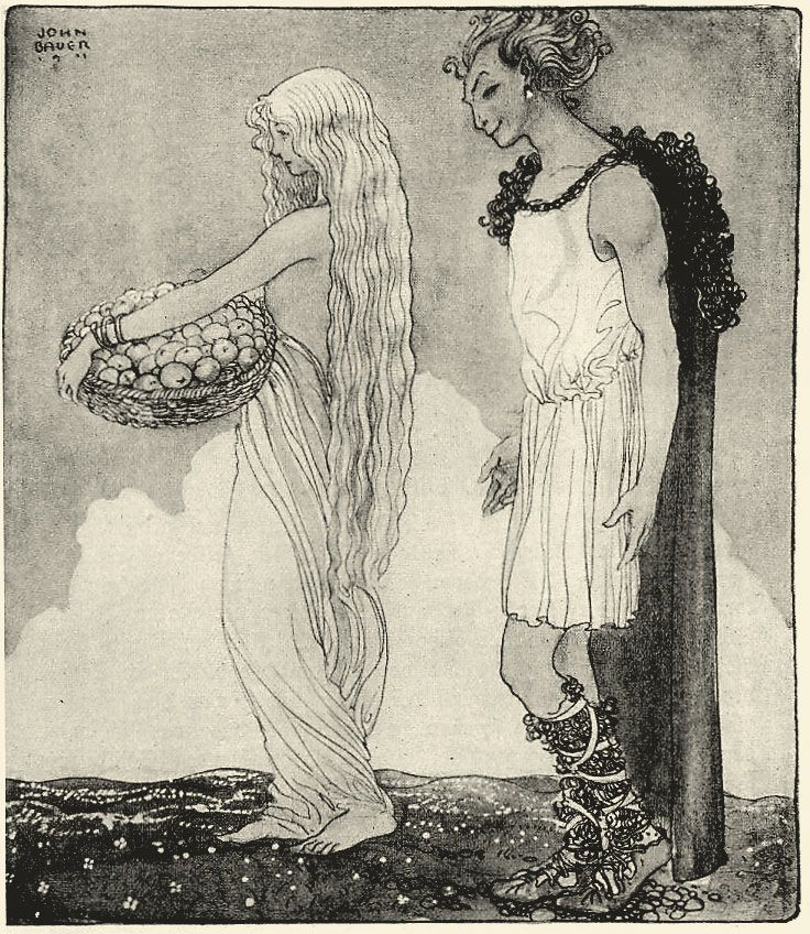 Idun, old Scandinavian Goddess of Love and Knowledge, and guardian of the apples of eternal youth (here in the company of the trickster God Loki)FRESH APPLE SORBET