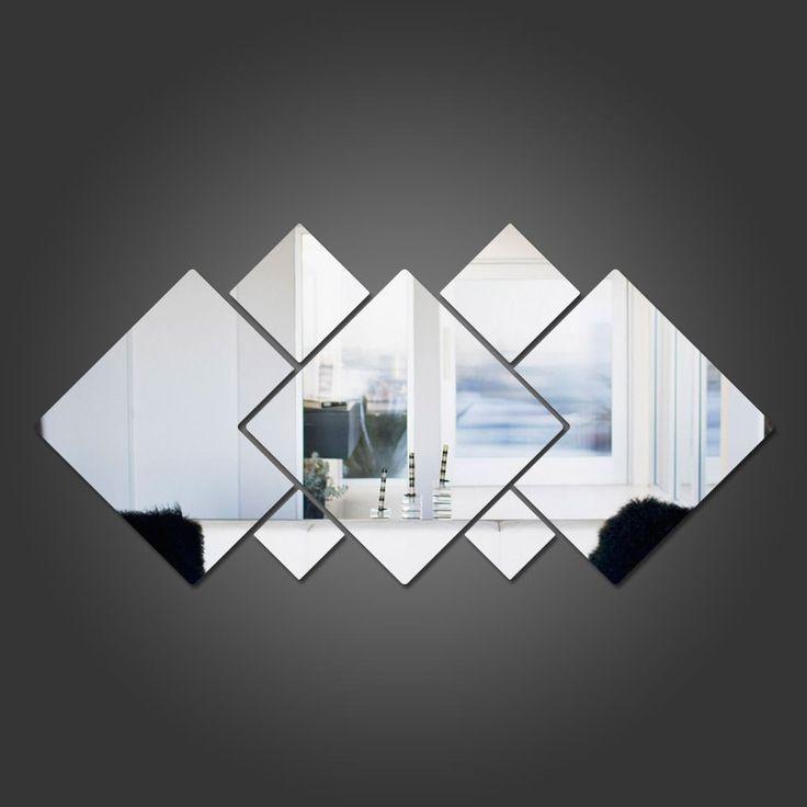 Espelho Decorativo em Acrílico Quadrados Personalizáveis   bemColar - Adesivos De Parede