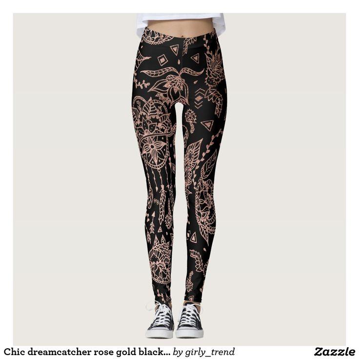 Chic dreamcatcher rose gold black illustration leggings