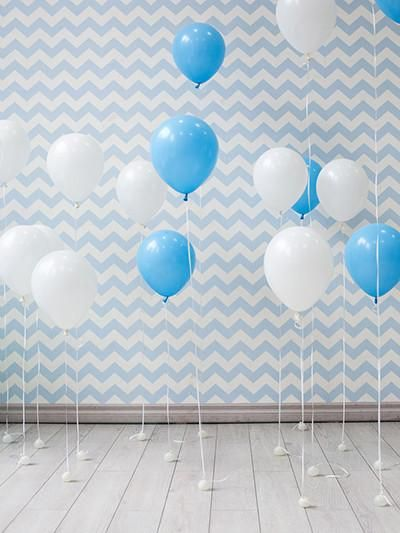 Kate Chevron Background with Balloon Birthday 1st Children/Newborn
