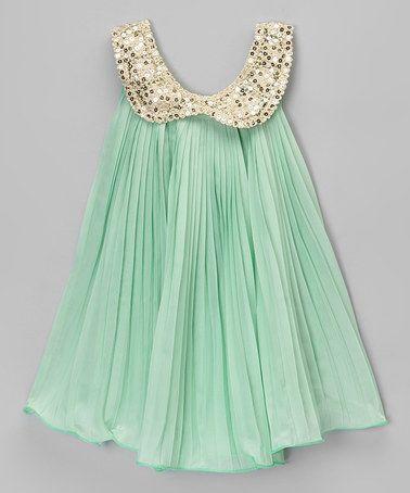 Mint & Gold Sequin Yoke Dress - Toddler & Girls #zulily #zulilyfinds