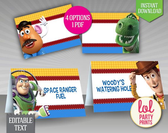 INSTANT DOWNLOAD - EDITABLE TEXT Toy Story Food Label that can also be used for Place Cards - Printable Princess Ariel food label tent cards