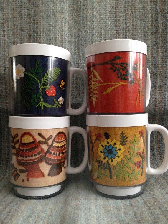 Vintage Thermo Serv Mugs Set of 4 Embroidered Stitched Pattern ~ Dart Ind. ~ Thermo Mugs ~ Retro Mugs ~ Vintage Kitchen Decor ~ Coffee Mugs