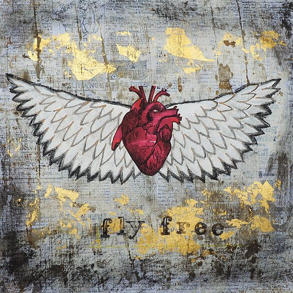 Fly Free : archival print for sale : Let your freak flag fly. Open the window, give your heart a gentle push and take off. Fly Free is an archival giclée reproduction of an original mixed media artwork by local Denver artist Amy Ventura. Signed and matted. Retail value $25. : #wings #heart #flying
