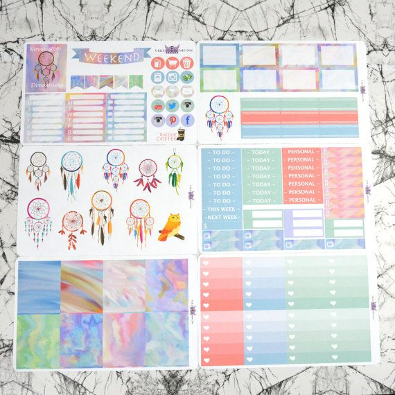 Watercolored dreams weekly kit for Erin Condren