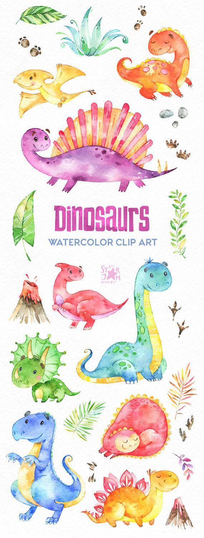Dinosaurios. Acuarela clip arte personajes lindo dino