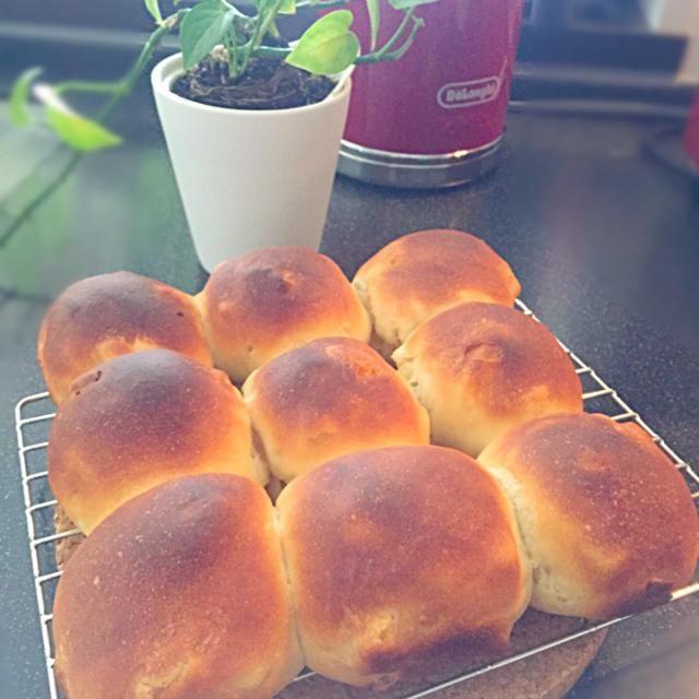 何となく復活してきたので、パン焼いてみた。  やや濃いめの焼き色は、ご愛嬌ってことで。(´・Д・)」 - 65件のもぐもぐ - ドライアップルのちぎりパン by chisako
