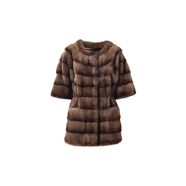 SIMONETTA RAVIZZA Brown Mink Coat ($3,465) ❤ liked on Polyvore featuring outerwear, coats, fur, slim fit coat, short mink coat, brown coat, short coat and brown mink fur coat