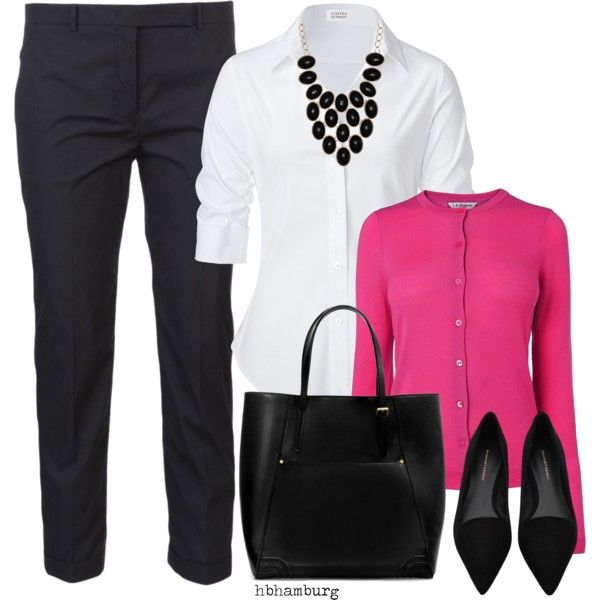 White Blouse, Pink cardigan, black pants, black heels, black statement necklace…