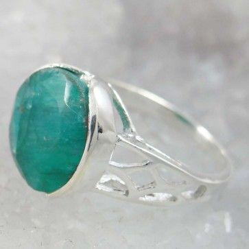 Emerald Stone 925 Sterling Silver Jewelry Women Ring Fashion Jewellery SZ 7