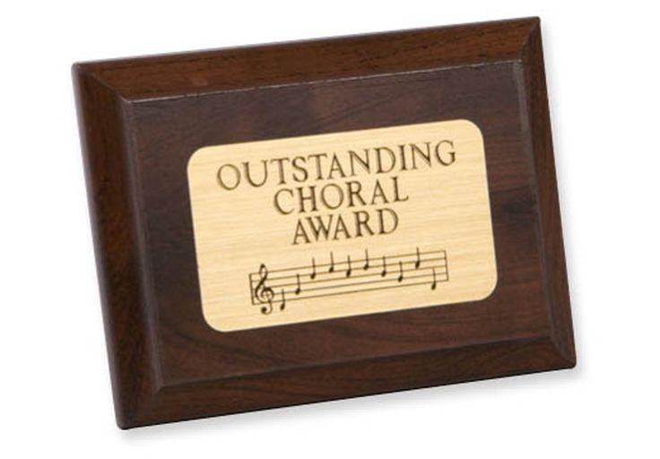 "OUTSTANDING CHORAL PLAQUE - Wooden achievement plaque, with brass-finish mylar plate (not for engraving). 4"" x 3""."