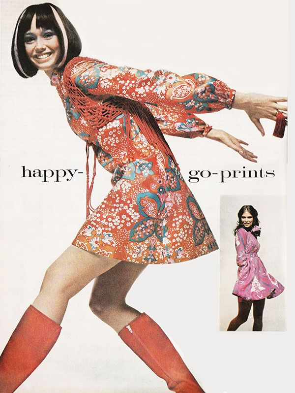 'Covered with silk butterflies, flowers, long billowy sleeves– and everything about it zingy as can be.' (1970) #Vogue