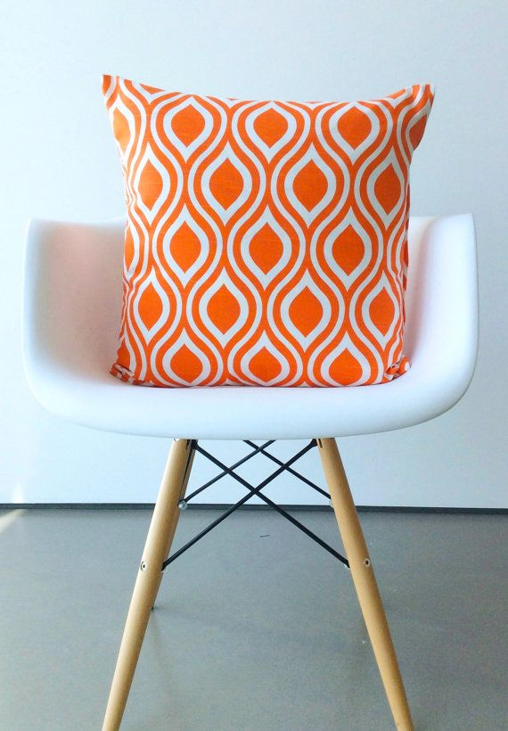 Orange pillow cover One 18 x 18 inches Nicole by VFIllustration