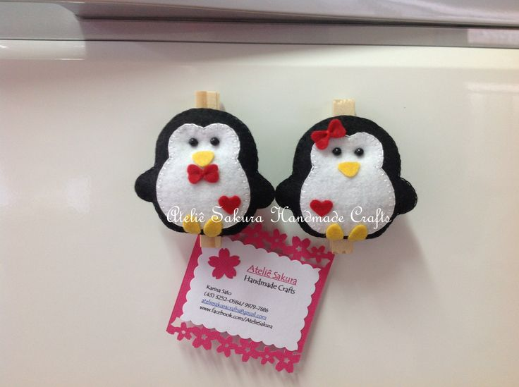 Pinguim imã de geladeira em feltro | Ateliê Sakura ...