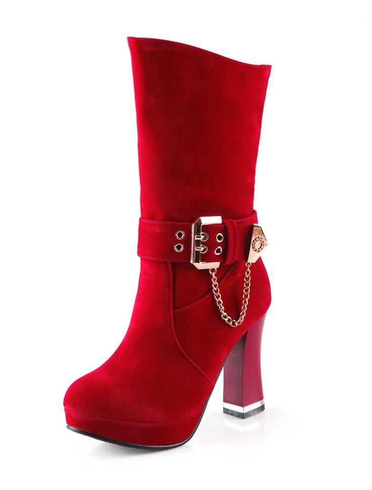 Buckle Chunky High Heel Mid-calf Platform Round Toe Boot