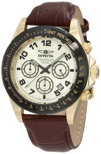 Invicta Men's 10709 Speedway Chronograph Gold Dial Brown Leather Watch Invicta. Save 86 Off!. $94.76. Champagne dial with black hands, hour markers and arabic numerals; luminous; black bezel with tachymeter scale; screw-down crown and pushers. Water-resistant to 200 M (660 feet). Japanese quartz movement. Mineral crystal; brushed and polished 18k gold ion-plated stainless steel case; brown leather strap. Chronograph functions with 60 second, 60 minute and 24 hour subdials; date function