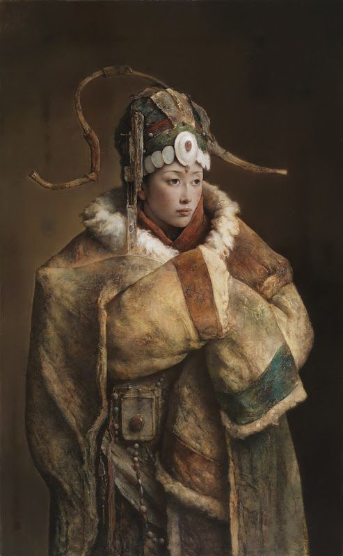 """asianhistory: suspensioncathouse: Tang Wei Min Tang Wei Min was born in 1971 in Yong Zhou, Hunan Province of China. In 1991, he graduated from the Art Department of Hunan Standard College, where he majored in oil painting. In 2001, Tang Wei Min was accepted into a graduate study program in the Painting Department in Guangzhou Academy of Fine Arts.Tang Wei Min's """"Girl with Fan"""" was honored with second prize during the exhibition organized for the prestigious """"Charles B. Wang"""" scholarship…"""