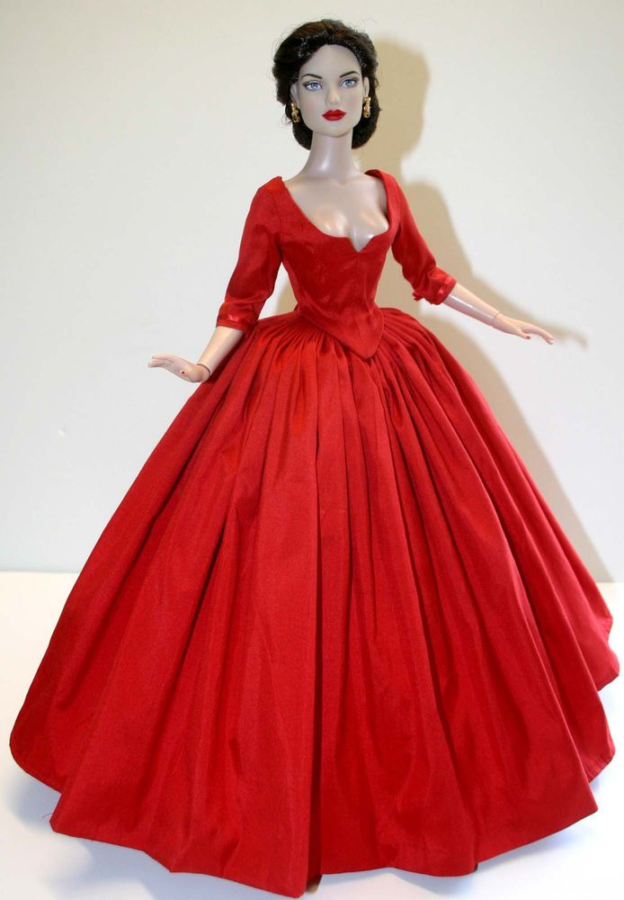 outlander claire red silk dress for 16quot tyler dolls tonner