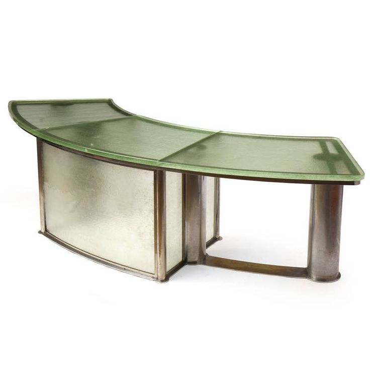 Louis Sognot and Charlotte Alix; Chromed Brass and St. Gobain Glass Desk for the French National Railway, 1930s.