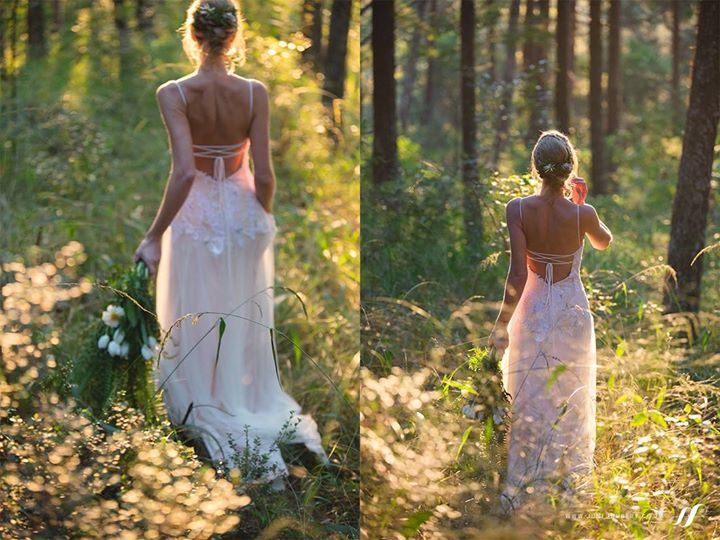 Gorgeous real bride at her forest elopement wedding wearing a custom Dimity creation. An exposed lace-up finished off her corset bodice perfectly!