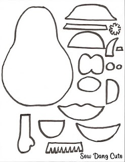 Sew Dang Cute Crafts: Mr. Potato Head printable. Could color, laminate and magnetize or make out of felt.
