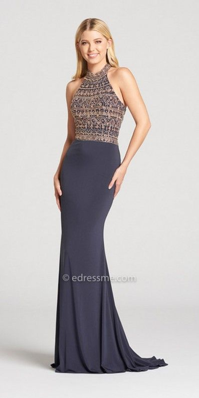 Radiate perfection on your magical night in the Beaded Halter Neckline Skinny Racerback Prom Dress by Ellie Wilde for Mon Cheri. This sparkling number features a sleeveless beaded bodice, a skinny racer back and a jersey knit skirt. #edressme
