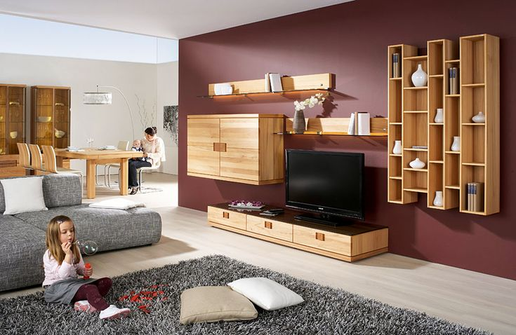 Wooden living room furniture sets with TV