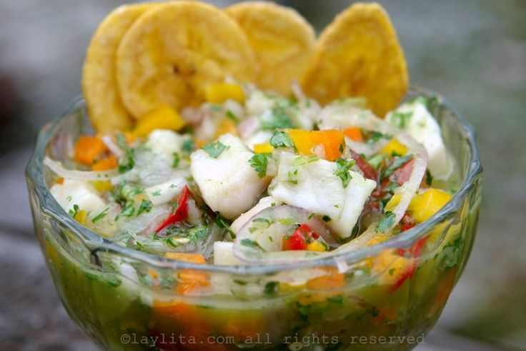 "My brother Ramon's fish ceviche recipe (ceviche de pescado), made with fish ""cooked"" in lime juice with hot peppers and garlic, and then mixed with red onions (or shallots), tomatoes, bell peppers, and cilantro."