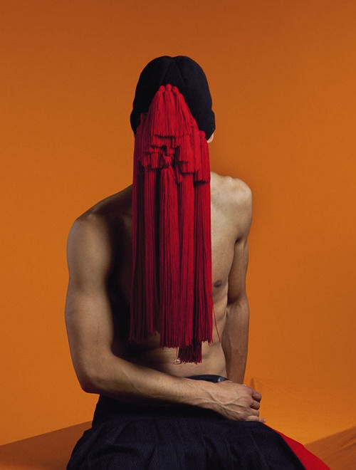 SAD ANIMAL CLUB (hot,male,model,mask,tassels,face obscured,faceless,faceless fetish,male model,portrait,bizarre,unusual,oddity,fashion,avant-garde)