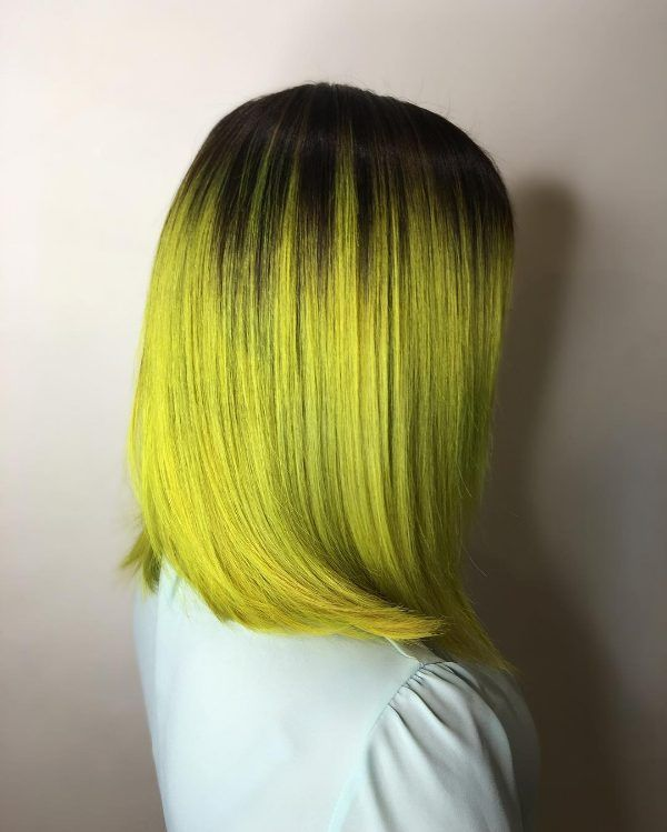 ombre hair black to yellow