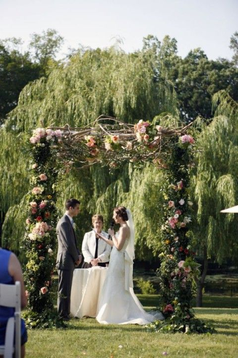 Rustic Elegant, Twigs and Flora, Outdoor Summer Wedding Arch.