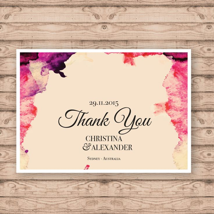 Watercolour Wedding Thank You Cards - Print At Home File or Printed Cards - Personalised Thank You Cards - Folded Card or Postcard Design by PaperCrushAus on Etsy