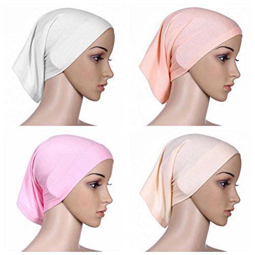 Ksweet 4pcs Lightweight Hijab Cap Under Scarf Women Tube Bonnet Cap Elastic Underscarves Inner Hijab Caps BeigeMiWEKQPink ** Click image for more details.