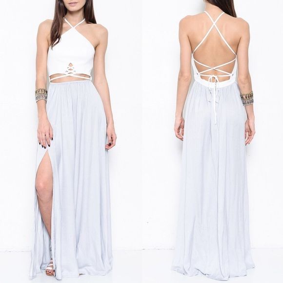 LASTSAHARA Criss cross back tie dress - GREY Gorgeous maxi dress with y neckline. Criss cross front & back with back tie. Sexy side slit. Oh so sexy! Feel like a complete goddess rocking this stunner. Available in grey or almond (peach color). NO TRADE, PRICE FIRM Bellanblue Dresses Maxi