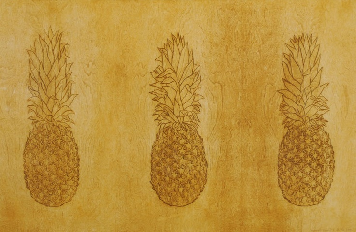"David Hefner Pineapples in Triplicate (Monochromatic) ::24.25x37.5"", woodcut print"