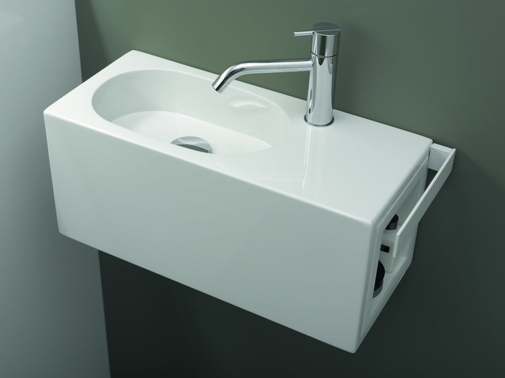 "The ""Fusion.S"" washplace line is perfect for rooms where space is lacking."