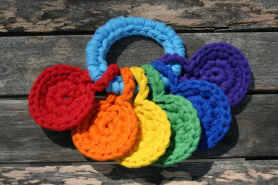 handheld rainbow, crocheted t-shirt yarn key ring toy for baby by yourmomdesigns - montessori inspired