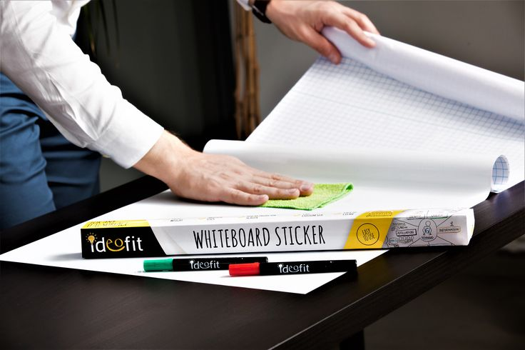 Dry Erase Whiteboard Sticker 17.7''x78.7'' Peel and Stick Paper Roll Sheet, Large Board Wall Decal for Office, School, Home + 2x Dual Tip Marker + Cleaning Cloth + Instructions Flyer by Ideofit