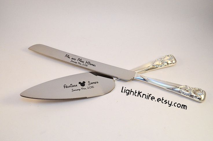 Disney Wedding! Black Engraved Wedding Cake Knife and Serving Set - Two Hearts - Mickey Mouse Ears by LightKnife on Etsy https://www.etsy.com/listing/209329825/disney-wedding-black-engraved-wedding