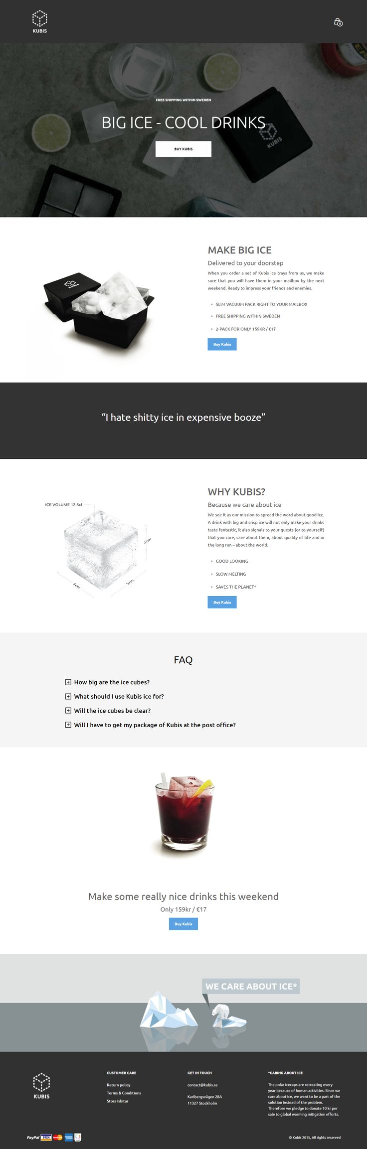 kubis.se, an online business that sells big ice, powered by Mr Tailor. http://www.getbowtied.com/customer-stories-kubis-big-ice-tray-mrtailor/?utm_source=pinterest.com&utm_medium=social&utm_content=kubis&utm_campaign=customer-stories #wordpress #bestsites #webdesign #bigice #icetray #cooldrinks