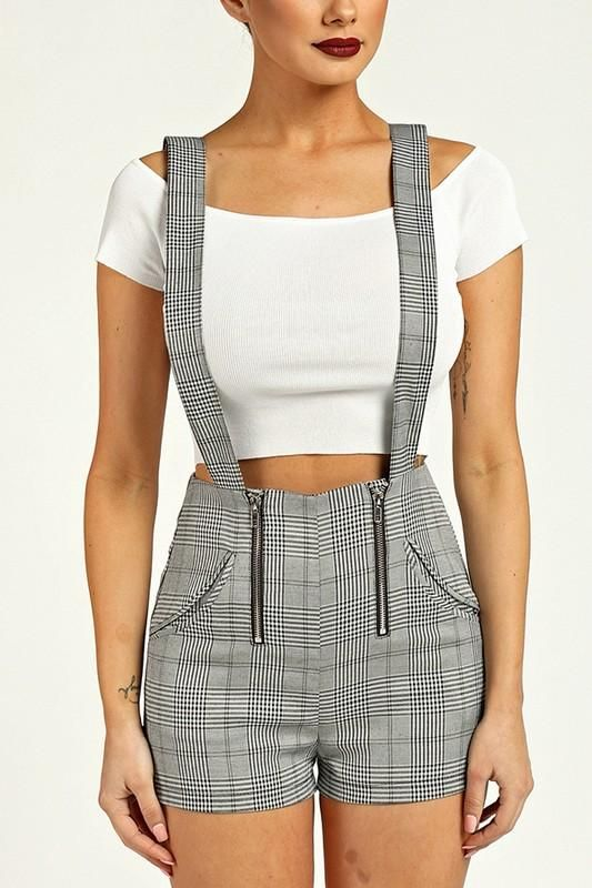 Plaid Print Suspender Shorts