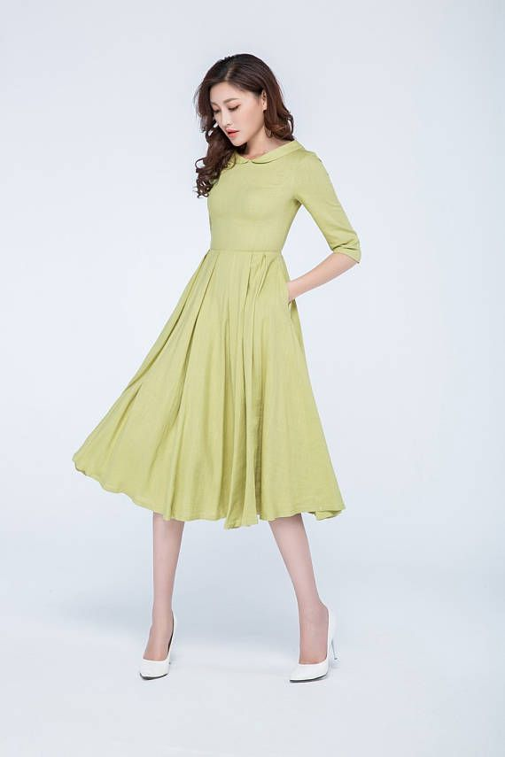 mustard dress pleated dress linen dress knee length dress