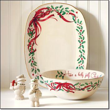 """Avon A. HAPPY HOLLY DAYS SNOWMAN SALT & PEPPER SET Porcelain, hand wash, 4"""" h.  AVON EXCLUSIVE! B. LENOX HOLIDAY RIBBON OBLONG PLATTER Porcelain, hand wash, 15.25"""" l  AVON EXCLUSIVE! C. LENOX HOLIDAY RIBBON SENTIMENT BOWL Porcelain, hand wash, 10.75"""" dia."""