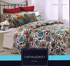 Beau Cynthia Rowley Queen Moroccan Medallion Floral Teal Red Green 6 Pc  Comforter Set