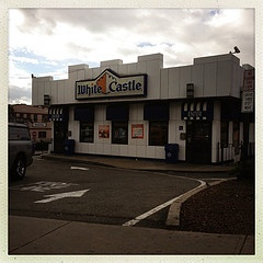 White Castle in North Bergen, NJ.  http://www.atmgt.com/... Going through one entrance you're in north bergen. Through the other you're in Fairview.
