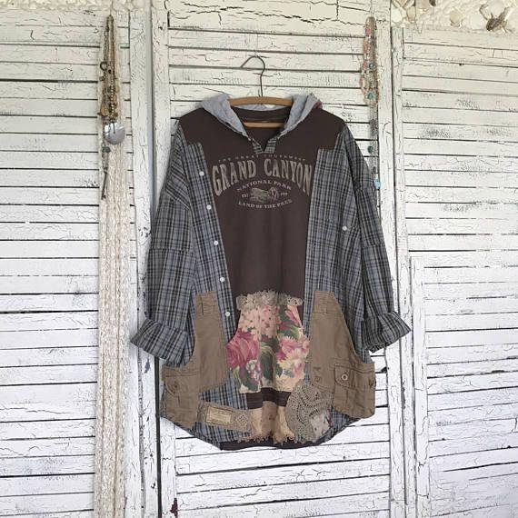 Riservato, Urban Kaftan Boho con cappuccio, Upcycled abbigliamento per donna, t-shirt del Grand Canyon e camicia a quadri, unica taglia